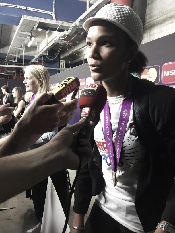 Wendie Renard talks to the media after the game. | Image source: Gianluca Lia