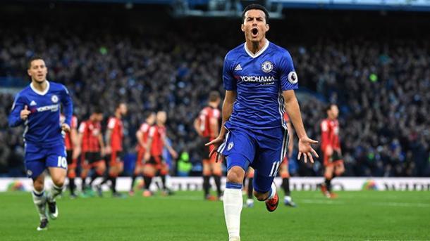 La gioia di Pedrito, mattatore contro il Bournemouth nel 3-0 dell'andata. | Fonte immagine: Chelsea FC
