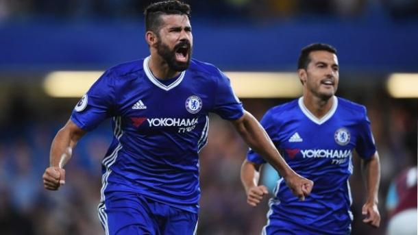 Diego Costa celebrates his winning goal against West Ham (Photo: Getty Images)