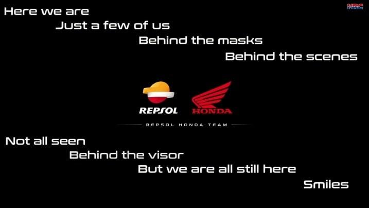 Mensaje de HRC en el vídeo. Foto: hondaracingcorporation.com