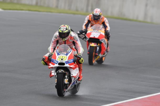 Iannone in front of race winner Marquez at one point - www.ducati.com