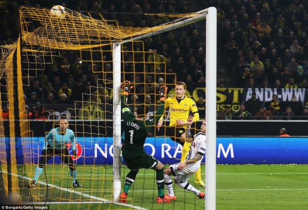 Marco Reus scores for Dortmund against Spurs on Thursday (photo: Getty Images)