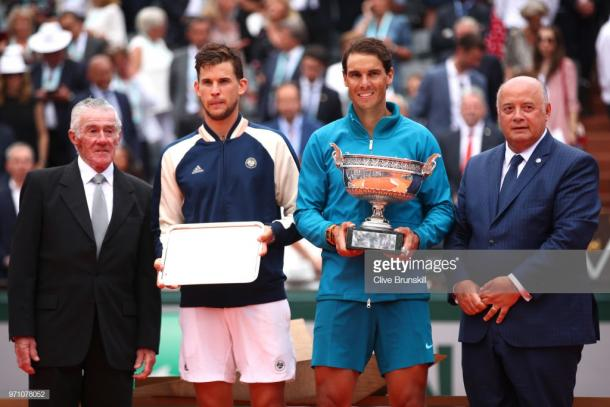 Thiem junto a Nadal en la final de Roland Garros. Foto: Getty Images.