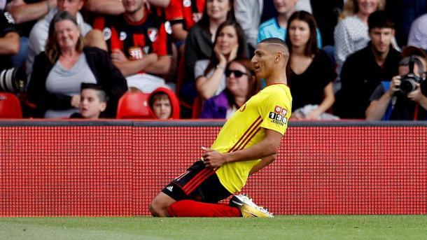Richarlison celebra el primer gol del Watford. Foto: premierleague