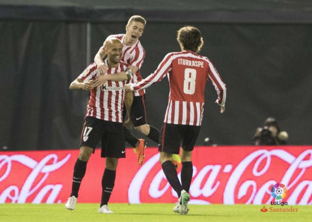Mikel Rico celebra su gol ante el Celta | Fotografía: LaLiga