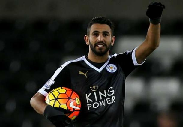 Riyad Mahrez took home the match ball on Saturday after a game-winning hat-trick. (Photo: Goal)