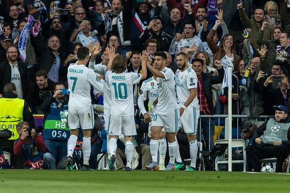 Comemoração do gol de empate marcado por Benzema (TF-Images/Getty Images)