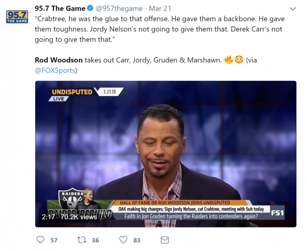 Local Bay Area radio station 95.7 The Game caught wind of Rod Woodson's hot take filled appearance on FS1's Undisputed.