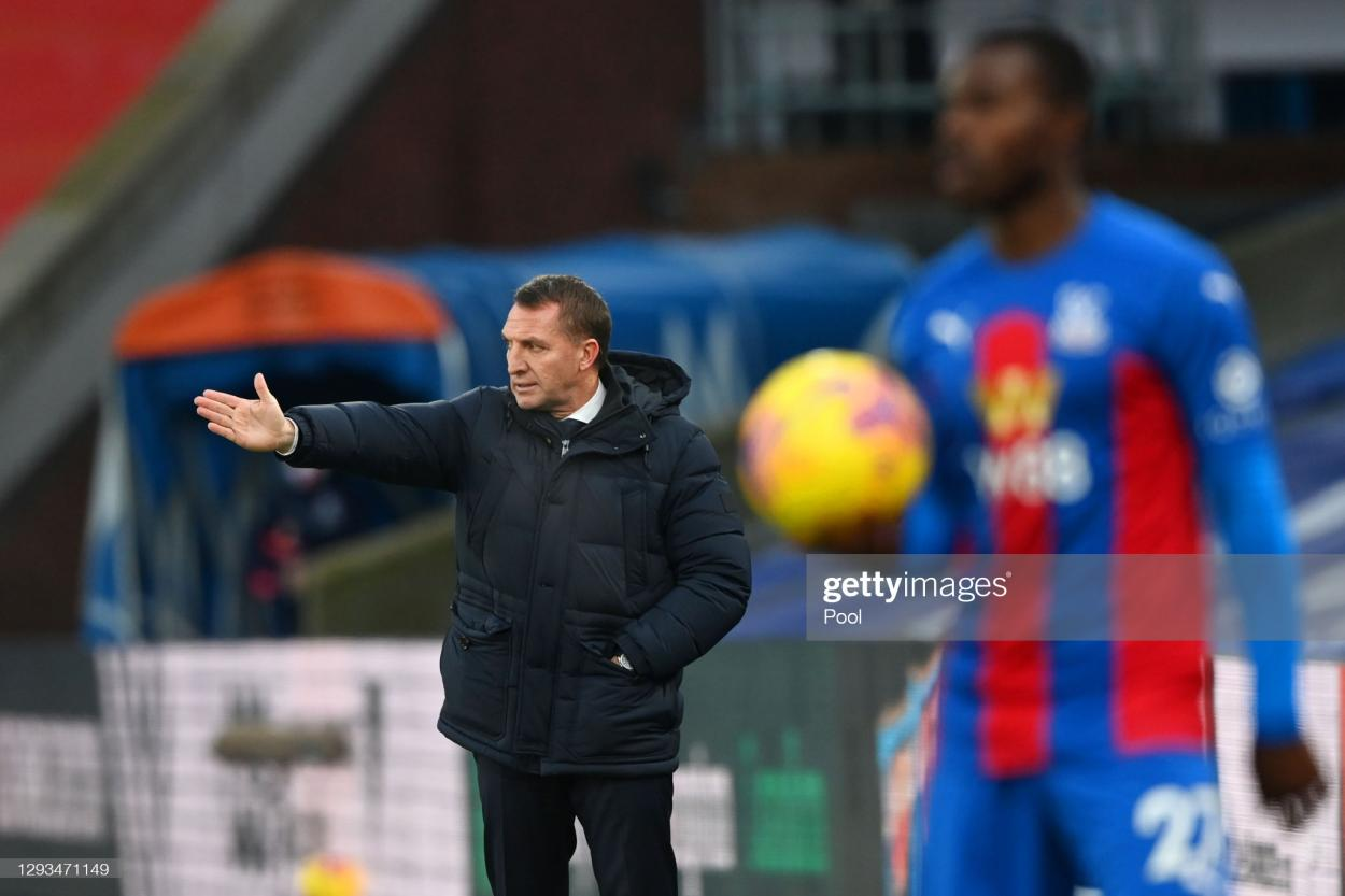 <strong><a  data-cke-saved-href='https://vavel.com/en/football/2021/10/01/leicester-city/1087872-crystal-palace-vs-leicester-city-predicted-line-ups.html' href='https://vavel.com/en/football/2021/10/01/leicester-city/1087872-crystal-palace-vs-leicester-city-predicted-line-ups.html'>Brendan Rodgers</a></strong> watches on from the Selhurst Park sidelines last season | Photo by Facundo Arrizabalaga/POOL/AFP via Getty Images
