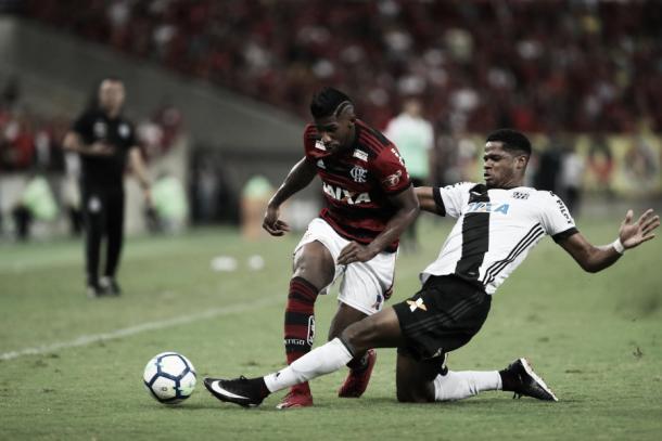 Ex-Ponte, o lateral Rodinei fez boa atuação durante o jogo. Foto: Gilvan de Souza/Flamengo