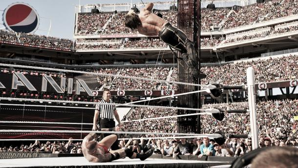Rollins can easily pull off high flying moves. Photo- WWE.com