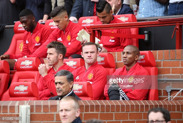 MANCHESTER, ENGLAND - SEPTEMBER 24: Wayne Rooney of Manchester United (C) on the bench with Michael Carrick and Ashley Young of Manchester United at Old Trafford ahead of the Premier League match between Manchester United and Leicester City at Old Trafford on September 24th, 2016 in Manchester, United Kingdom  | Photo by Plumb Images/Leicester City FC via Getty Images