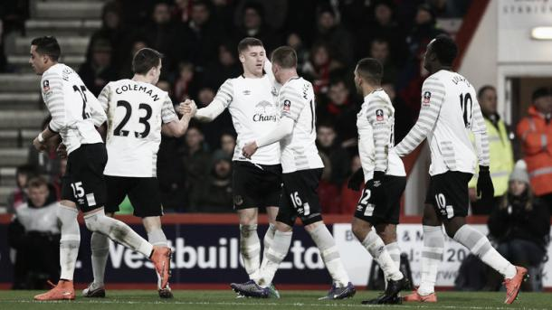 Ross Barkley (third left) celebrates scoring his team's first goal against Bournemouth. | Image: Sky Sports