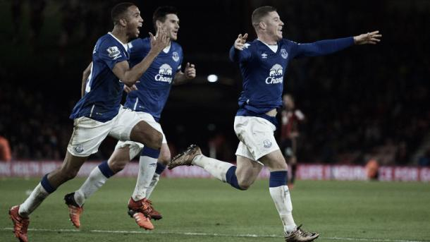 Ross Barkley celebrates after scoring what looked like a stoppage-time winner. (Image: Sky Sports)