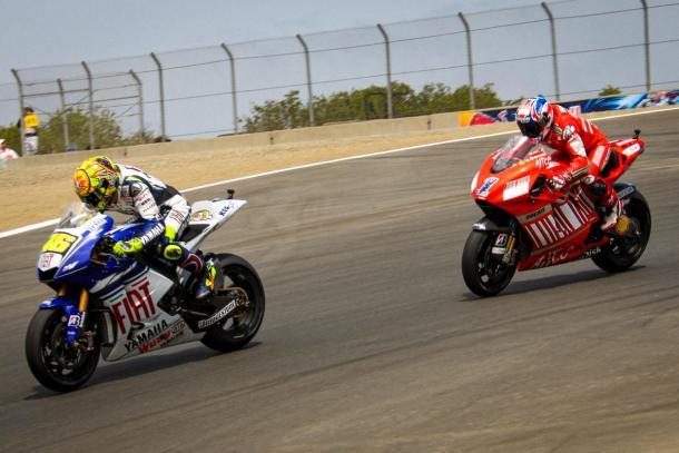 Rossi y Stoner, Laguna Seca | Foto: MotoGP.com