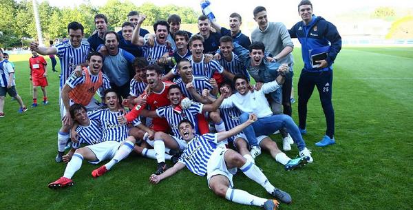 Los jugadores del Sanse celebran su pase al playoff de ascenso en Zubieta. | Foto: Real Sociedad
