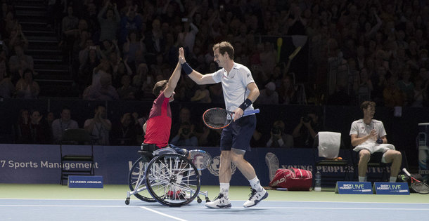 Gold medalists Gordon Reid and Andy Murray (Photo by Steve Welsh/Getty Images)