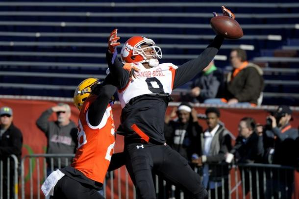 Defensive Back Jalen Mills of LSU (28) breaks up a pass during Senior Bowl practice at Ladd-Peebles Stadium. Photo: Glenn Andrews-USA TODAY Sports