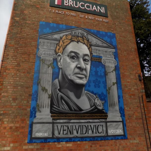 Claudio Ranieri depicted as a Roman God outside of Brucciani's in Leicester. Source - Emily Collins.