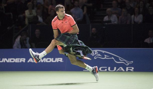 Dimitrov plays in a kilt (Photo by Steve Welsh/Getty Images)