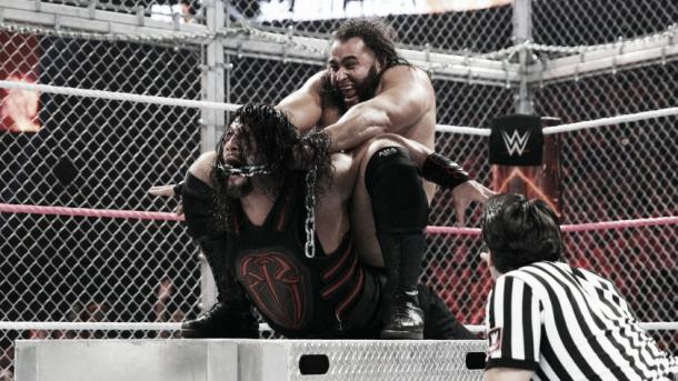 Rusev brutally attacked Reigns. Photo- WWE.com