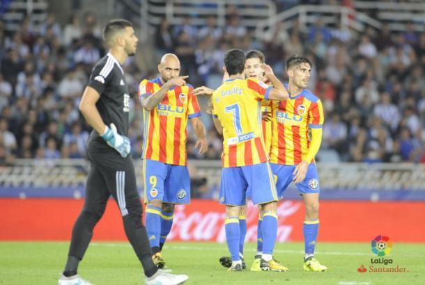 Rulli mira al infinito ante la celebración de Zaza | Foto: La Liga