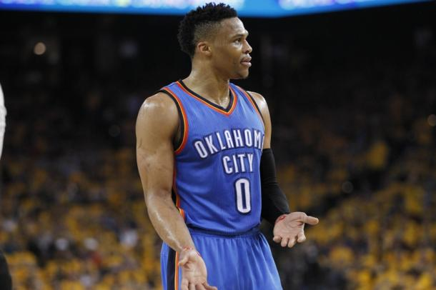 Russell Westbrook is on the verge of breaking Wilt Chamberlain's triple double record. Photo: USA-TODAY Sports