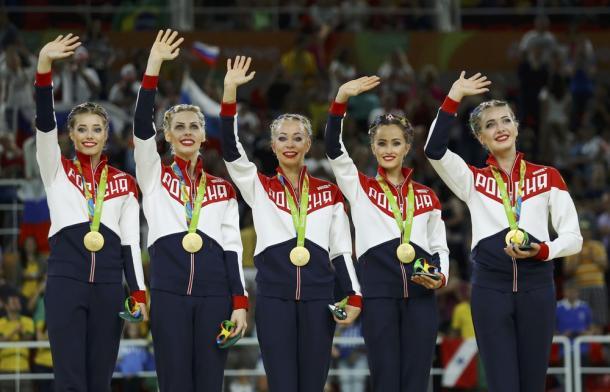 Russas da ginástica rítmica levaram a medalha de ouro no Rio, em 2016(Foto: REUTERS/Mike Blake)