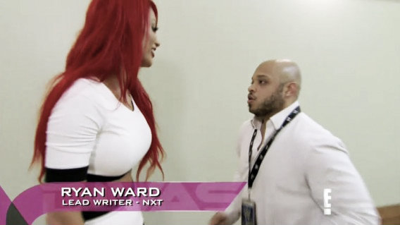Ryan Ward speaking to NXT roster member Eva Marie (image: therichest.com)