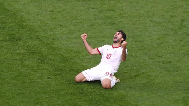 Karim Ansarifard celebrates a historic win for Iran | Source: Getty Images via FIFA.com