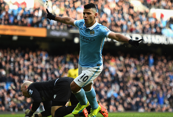 Aguero (pictured) scored two against Villa in his last fixture, and has netted 21 goals in all competitions already this term | Photo: Getty