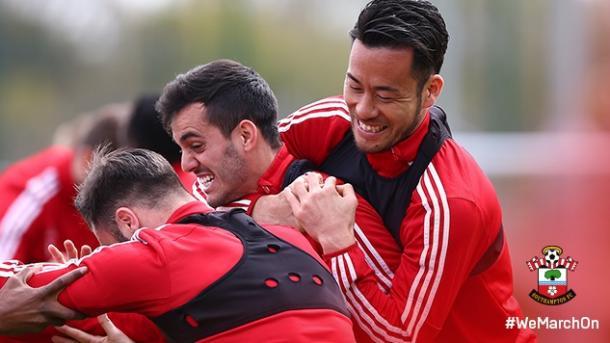 Southampton's players enjoy their pre-match training | Photo: Southampton FC