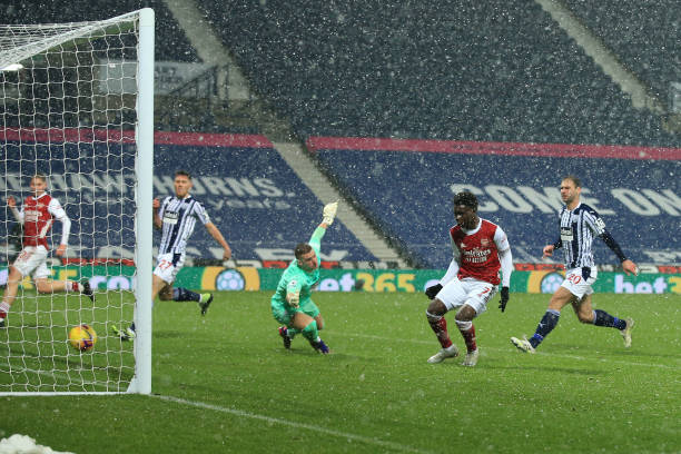 Saka finished a lovely move against West Brom (Photo by Simon Stacpoole via Getty Images)
