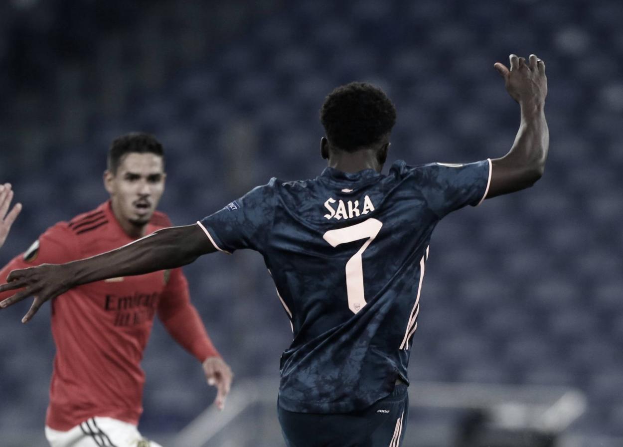 Saka firmó el empate del Arsenal | Foto: Arsenal