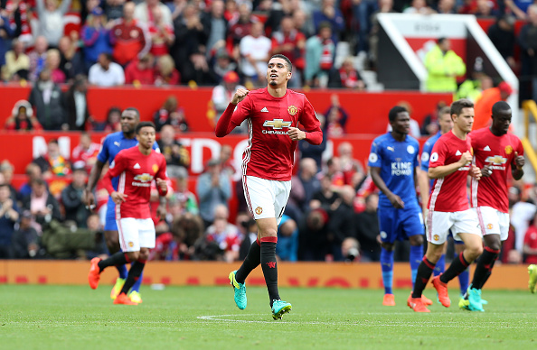 Smalling abriu o placar em Old Trafford | Foto: Plumb Images/Leicester City F.C. via Getty Images
