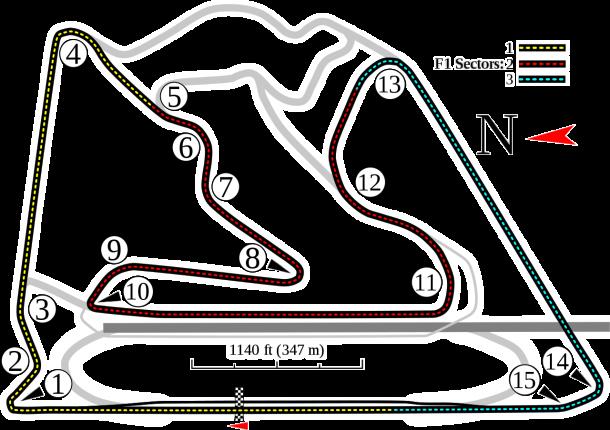 Trazado del circuito de Sakhir | Fuente: Wikipedia