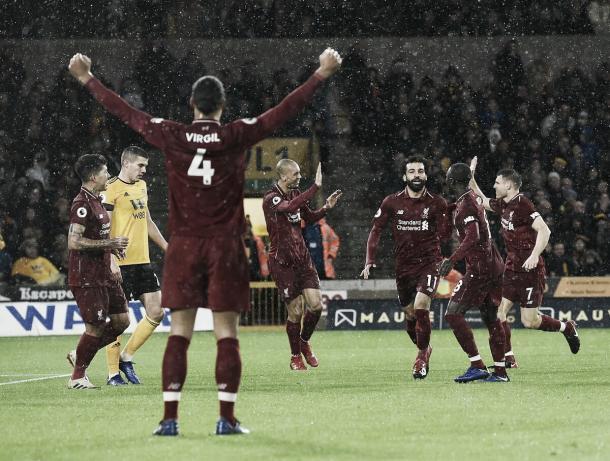 Salah comemora o primeiro gol da partida (Reprodução / Liverpool)