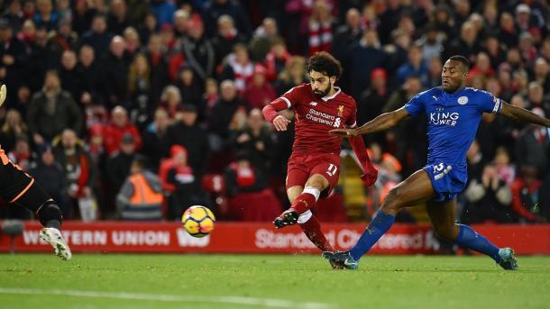 Salah anota el gol de la victoria del Liverpool. Foto: premierleague