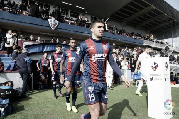 La Sociedad Deportiva Huesca se dispone a disputar un encentro de la campaña pasada / Foto:sdhuesca.es