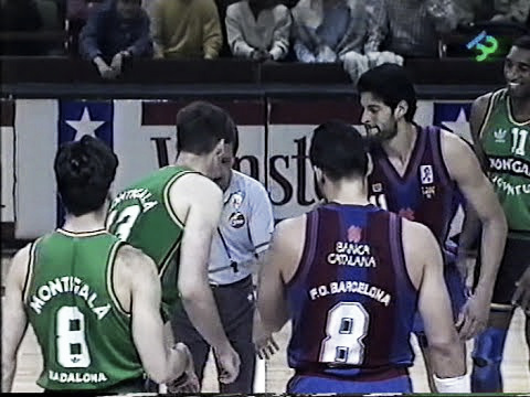 Salto inicial en el segundo partido de la final de la ACB en la temporada 1990-91   Foto: Captura YouTube