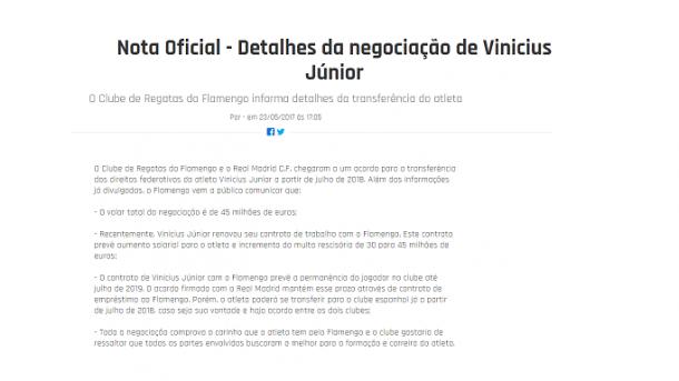 Após concretizar-se, o Flamengo revelou os dados da negociação, entre eles, o acordo entre os clubes sobre a permanência de Vinicius. Foto: Reprodução/Flamengo