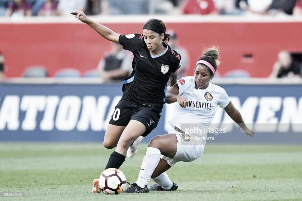 Sam Kerr will need to be firing on all cylinders if Chicago wants to beat North Carolina Wednesday (Photo by Quinn Harris/Icon Sportswire via Getty Images)