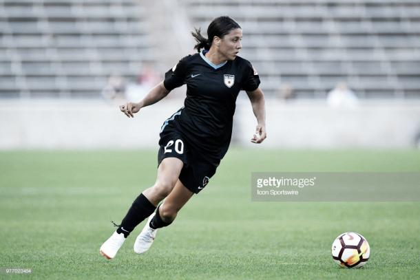 Sam Kerr still yet to find last season's form this season with Chicago. (Photo by Quinn Harris/Icon Sportswire via Getty Images)