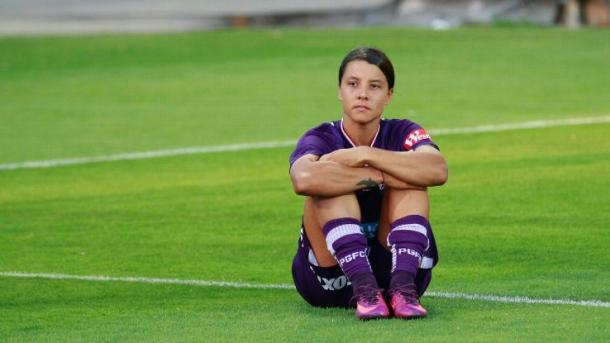 Sam Kerr after the 2017 Grand Final (Photo: David Woodley/Action Plus via Getty Images)