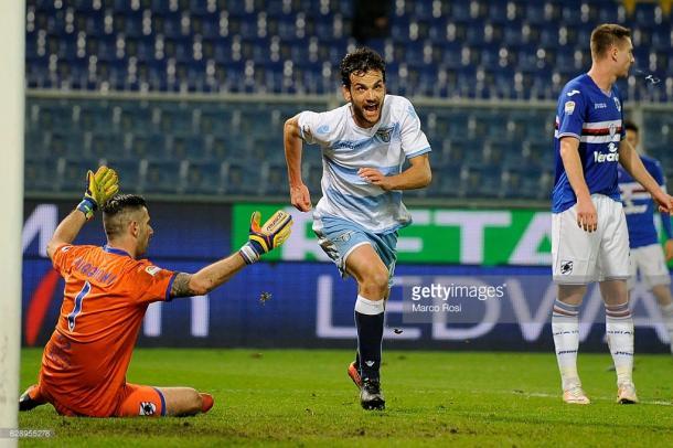 Imagen del ultimo encuentro liguero entre Sampdoria y Lazio que terminó con 1-2 para los romanos / Foto: gettyimages