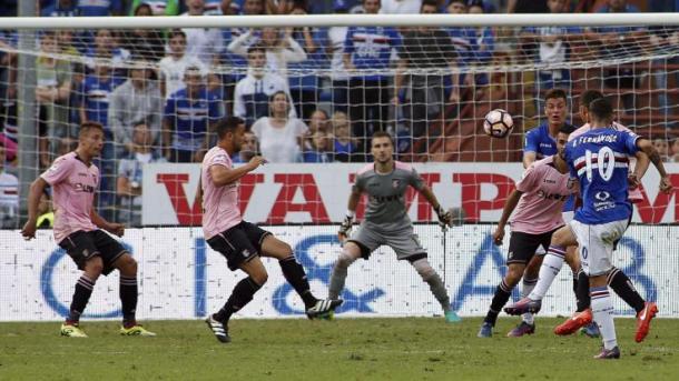 Minuto 95 della gara d'andata, Bruno Fernandes insacca il gol dell'1-1 - Foto LaPresse