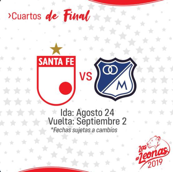 Santa Fe vs Millonarios. Cuartos de final Liga Aguila femenina 2019. Imagen: @Santa Fe Twitter