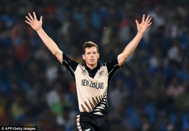 Santner celebrates a wicket in his sensational spell on Tuesday (photo: Getty Images)