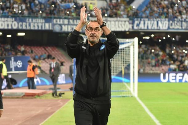 Maurizio Sarri nella notte della vittoria sul Benfica - Foto Ssc Napoli
