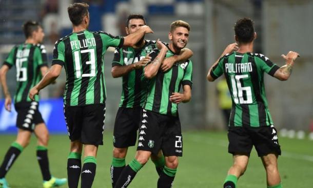 L'esultanza di Politano e Berardi dopo la vittoria sul Palermo - Foto CalcioMercato.com